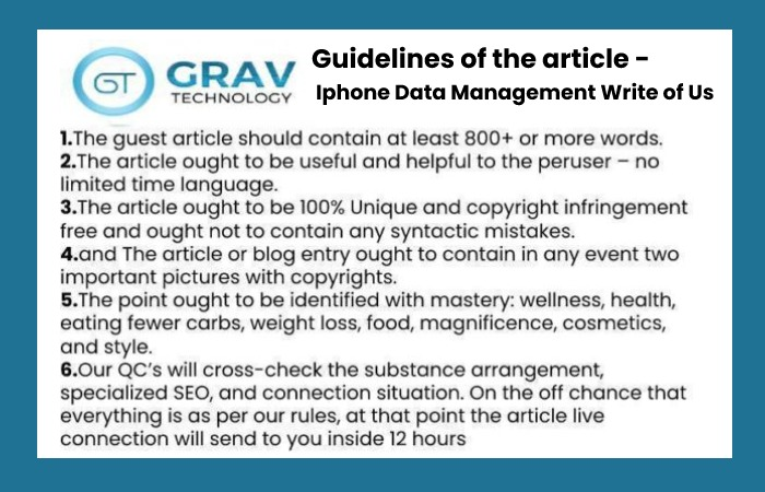 Iphone Data Management Write For Us